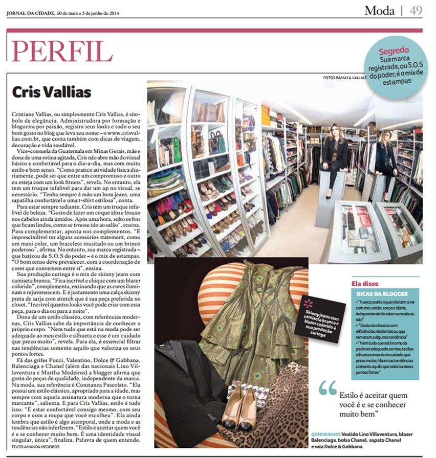 Perfil de Moda Cris Vallias no Jornal da Cidade BH - Maio 2014