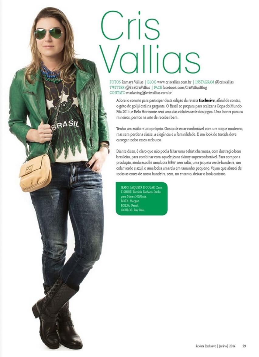Desafio das Blogueiras - Revista Exclusive - Junho 2014 - Look Cris Vallias - Look para Torcer na Copa do Mundo FIFA 2014 - Belo Horizonte